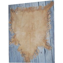 Annie Oakley elk hide table cover, her image is drawn into the leather.