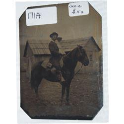 1800's tin type of Jessie Gillis, mounted soldier