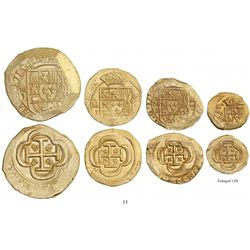 Denomination set of Mexico City, Mexico, cob 8-4-2-1 escudos, 1714J, from the 1715 Fleet.