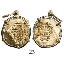 Mexico City, Mexico, cob 1 escudo, (1714J), from the 1715 Fleet, mounted in 14k gold pendant-bezel.