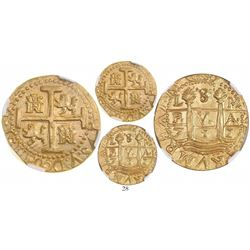 Lima, Peru, cob 8 escudos, 1711M, from the 1715 Fleet, encapsulated NGC MS 64 (highest grade certifi