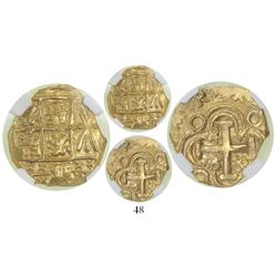 Bogota, Colombia, cob 2 escudos, Charles II posthumous, no assayer, from the 1715 Fleet, encapsulate
