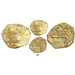 Bogota, Colombia, cob 2 escudos, Charles II posthumous (no assayer), from the 1715 Fleet.