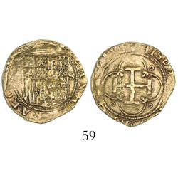 Seville, Spain, 1 escudo, Charles-Joanna, assayer not visible to left, mintmark S to right.