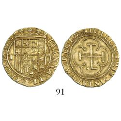 Toledo, Spain, 1 escudo, Charles-Joanna, assayer M to right, mintmark T to left.