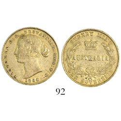 Sydney, Australia, sovereign, Victoria (young head), 1864.