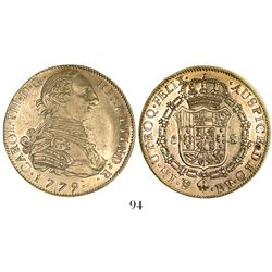 Potosi, Bolivia, bust 8 escudos, Charles III, 1779PR.