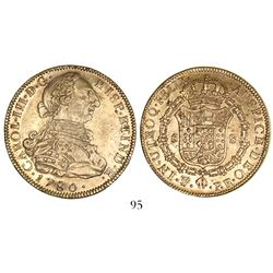 Potosi, Bolivia, bust 8 escudos, Charles III, 1780PR with 8/7 (unique and unlisted overdate).