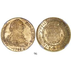 Potosi, Bolivia, bust 8 escudos, Charles III, 1786PR, encapsulated NGC AU details / surface hairline
