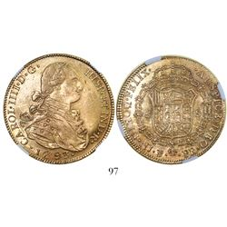 Potosi, Bolivia, bust 8 escudos, Charles IV, 1793PR, encapsulated NGC AU 55.