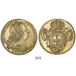 "Brazil (Rio mint), 6400 reis, Jose I, 1751-R, from the ""Clive of India treasure"" (ca. 1755)."