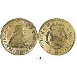 Santiago, Chile, bust 8 escudos, Ferdinand VI, 1750J, from the Luz (1752).