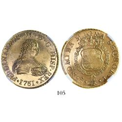 Santiago, Chile, bust 8 escudos, Ferdinand VI, 1751J, from the Luz (1752), encapsulated NGC MS 61.