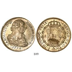 Santiago, Chile, bust 8 escudos, Charles III, 1778/7DA.