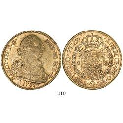 Santiago, Chile, bust 8 escudos, Charles III, 1781/79DA.