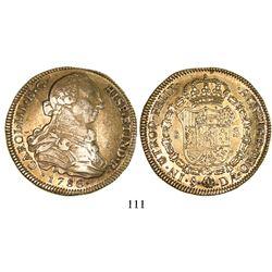 Santiago, Chile, bust 8 escudos, Charles III, 1786DA.