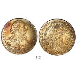 Santiago, Chile, bust 8 escudos, Charles III, 1787DA, encapsulated ICG EF40.