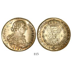 Santiago, Chile, bust 8 escudos, Charles IV transitional (bust of Charles III, ordinal IV), 1789DA.