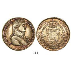 "Santiago, Chile, bust 8 escudos, Ferdinand VII (""admiral bust""), 1809FJ."