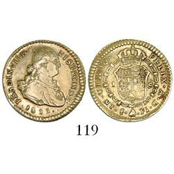 Santiago, Chile, bust 1 escudo, Ferdinand VII (bust of Charles IV), 1811FJ (re-punched F).