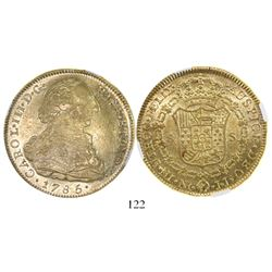 Bogota, Colombia, bust 8 escudos, Charles III, 1785JJ, encapsulated NGC AU 53.