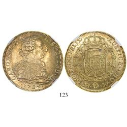 Bogota, Colombia, bust 8 escudos, Charles IV transitional (bust of Charles III, ordinal IV over III)