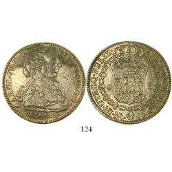 Bogota, Colombia, bust 8 escudos, Charles IV transitional (bust of Charles III, ordinal IV, 1791JJ.