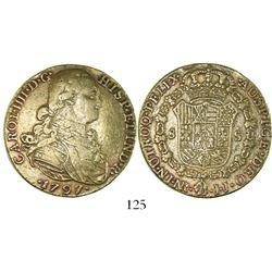 Bogota, Colombia, bust 8 escudos, Charles IV, 1797JJ.