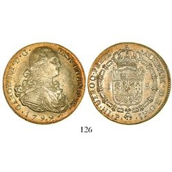 Popayan, Colombia, bust 8 escudos, Charles IV, 1799JF.
