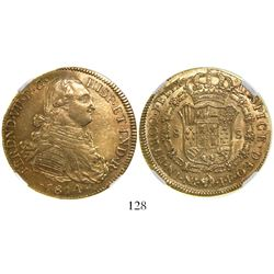 Bogota, Colombia, bust 8 escudos, Ferdinand VII (bust of Charles IV), 1814JF, encapsulated NGC AU 58