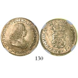 Popayan, Colombia, bust 2 escudos, Charles III (bust of Ferdinand VI), 1762J, encapsulated NGC AU 53
