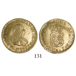 Popayan, Colombia, bust 2 escudos, Charles III (bust of Ferdinand VI), 1763J.