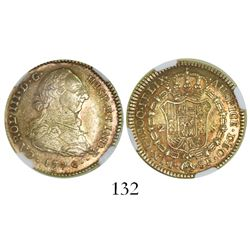 Popayan, Colombia, bust 2 escudos, Charles III, 1776SF, encapsulated NGC AU 55.
