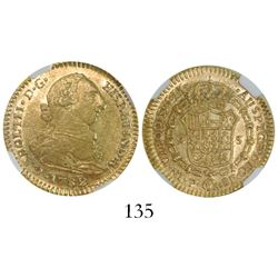 Popayan, Colombia, bust 2 escudos, Charles III, 1782SF, encapsulated NGC AU 55.