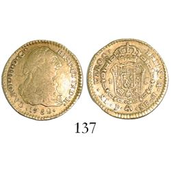 Popayan, Colombia, bust 1 escudo, Charles III, 1782SF.