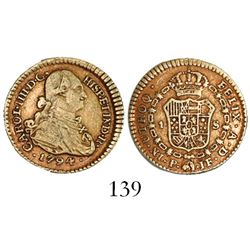 Popayan, Colombia, bust 1 escudo, Charles IV, 1794JF.