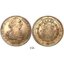 Mexico City, Mexico, bust 8 escudos, Charles IV transitional (bust of Charles III, ordinal IV), 1790