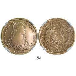 Mexico City, Mexico, bust 4 escudos, Charles IV, 1803/2FT, encapsulated NGC AU 53.