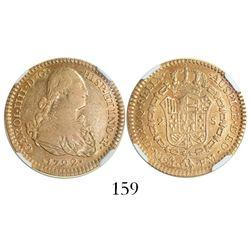 Mexico City, Mexico, bust 2 escudos, Charles IV, 1792FM, encapsulated NGC XF 45.