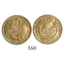 Mexico City, Mexico, bust 1 escudo, Charles III, 1783FF, initials facing rim.