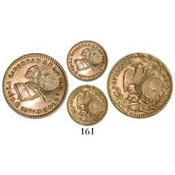 Mexico City, Mexico, 1/2 escudo, 1860/59FH, with contemporary counterfeit Costa Rica 1/2-escudo coun