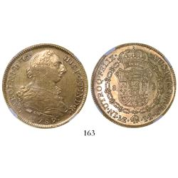 Lima, Peru, bust 8 escudos, Charles III (non-transitional), 1789IJ, encapsulated NGC AU 53.
