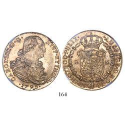 Lima, Peru, bust 8 escudos, Charles IV, 1795IJ, encapsulated NGC AU 55.
