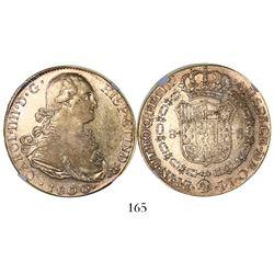 Lima, Peru, bust 8 escudos, Charles IV, 1800IJ, encapsulated NGC VF 30.
