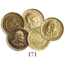 Lot of five Lima, Peru, 1/5 libras, various dates (1910, 1911, 1912, 1919 and 1927).