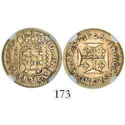 Lisbon, Portugal, 1000 reis, Joao V, 1720, encapsulated NGC XF 45.