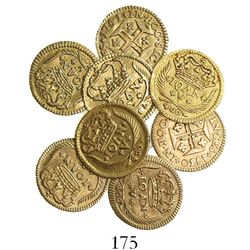 Lot of 8 Lisbon, Portugal, 400 reis, Joao V, various dates (all different), as follows: 1719, 1720,