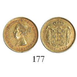 Lisbon, Portugal, 1000 reis, Maria II, 1851.