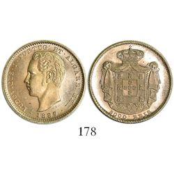 Lisbon, Portugal, 5000 reis, Luiz I, 1889.