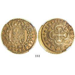 Seville, Spain, milled 8 escudos, Philip V, 1714M, encapsulated NGC AU 53.